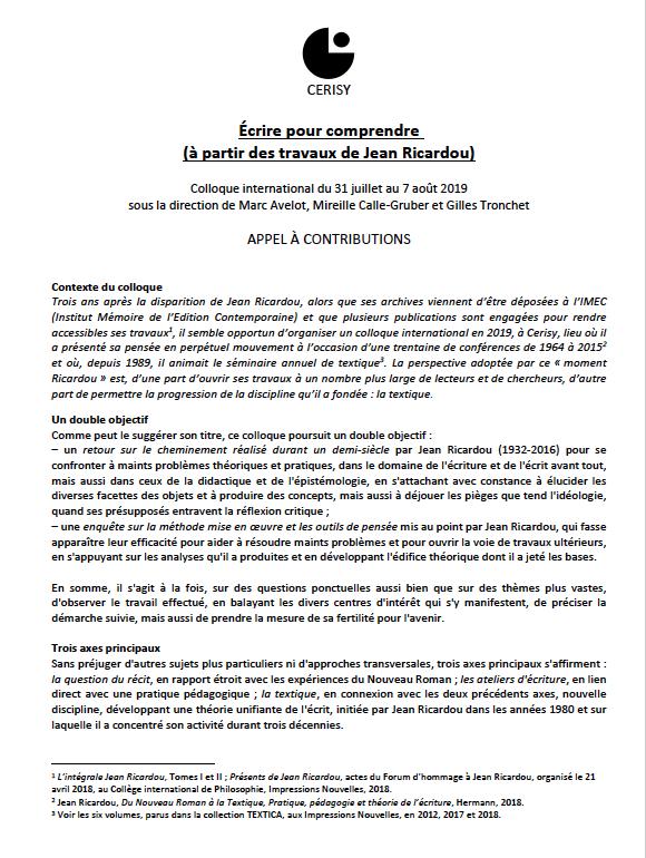 Appel à Contributions Colloque Jean Ricardou 2019